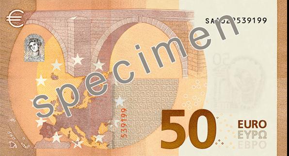 neue 50 Euro Banknote Rückseite