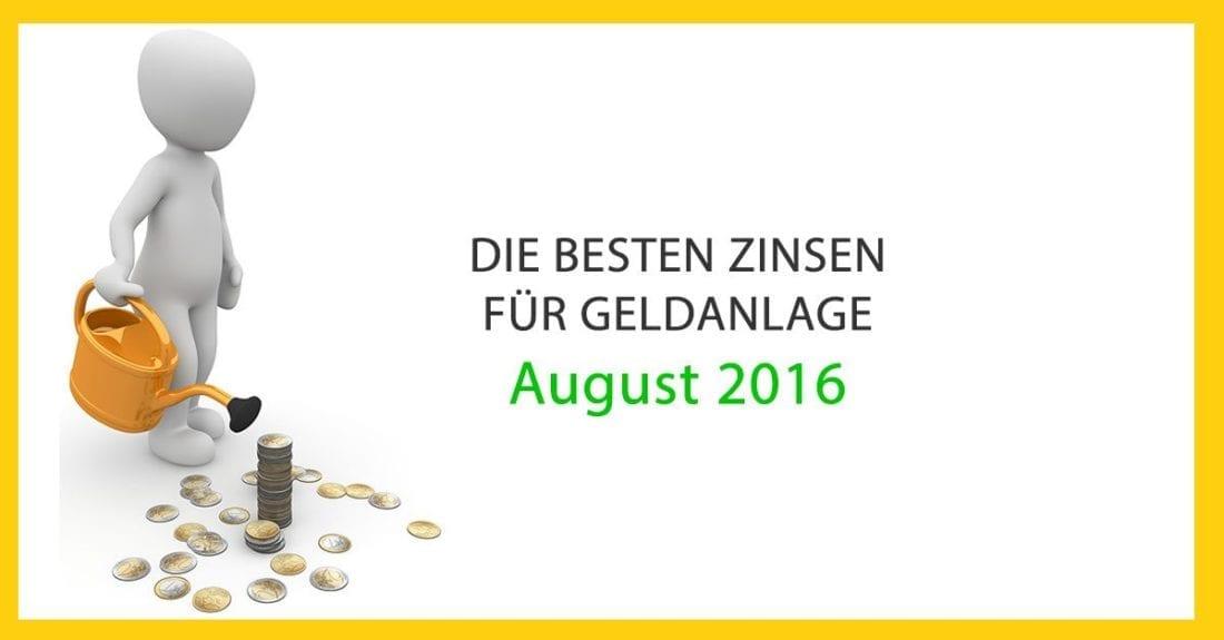 Die besten Zinsen für Geldanlage in Österreich im August 2016