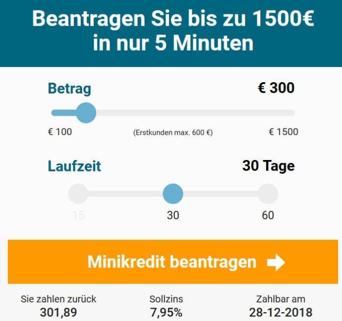 Minikredit von Cashpresso Österreich - Beispielrechnung 11/2018 (Screenshot)