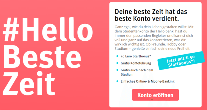 Studentenkonto Hello bank!