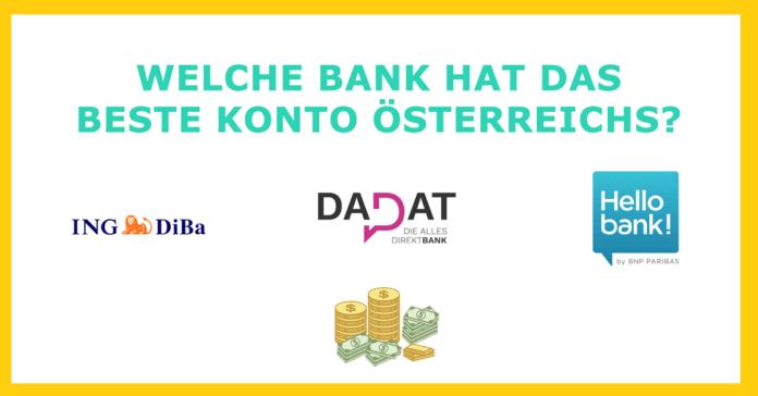 Online Direktbank in Österreich mit dem besten Konto (Gehaltskonto) im Vergleich: ING DiBa, DADAT, Hellobank