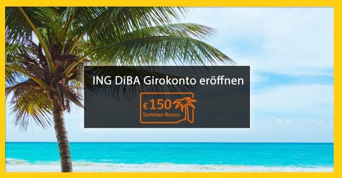 Wer jetzt ein Girokonto oder Gehaltskonto bei der ING DiBa Österreich abschließt bekommt 150 Euro Sommerbonus