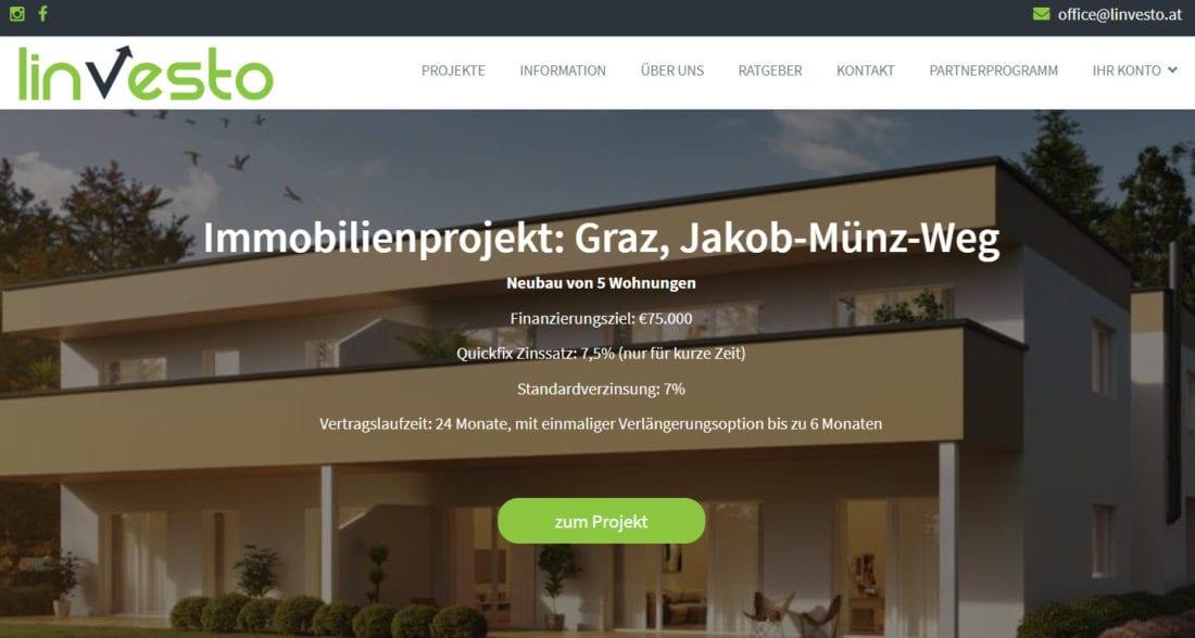 Linvesto GmbH - Crowdinvesting Portal für Immobilien aus Österreich. Immobilien Crowdfunding ab 6% Zinsen bis 7,5% p.a.
