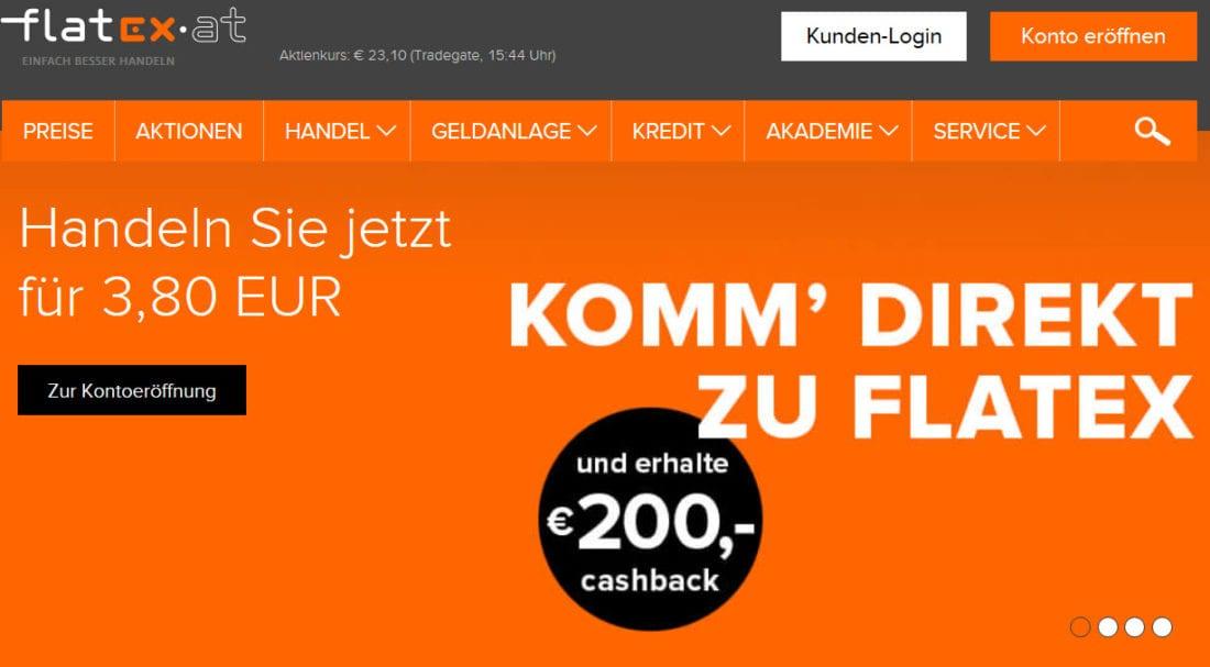 Flatex Österreich 200 Euro Cashback Neukundenaktion Online Broker Wertpapierdepot