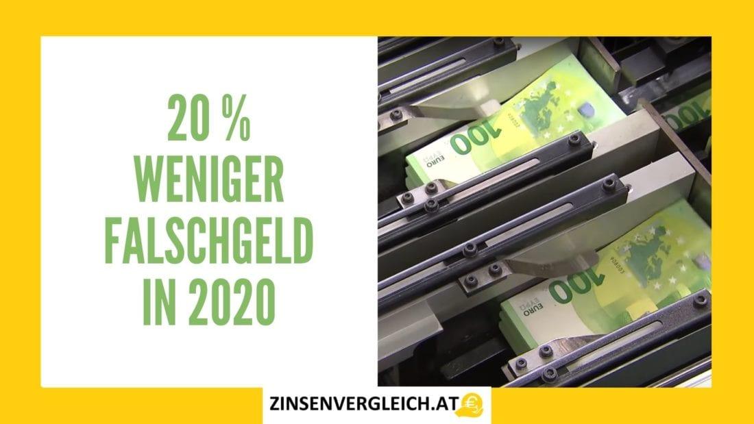 20% weniger Falschgeld in Österreich 2020 vs 2019