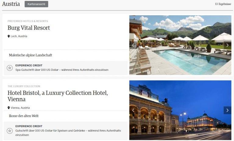 Auswahl an American Express Fine Hotels + Resorts in Österreich