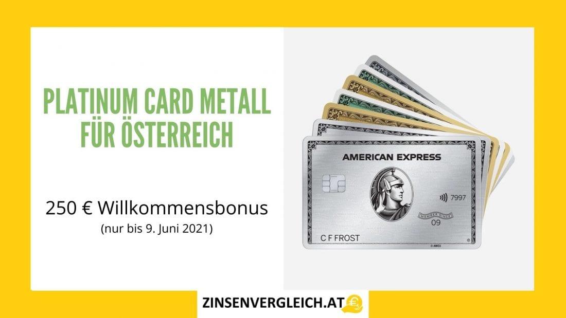 American Express Platinum Card Metall für Österreich mit 250 € Willkommensbonus