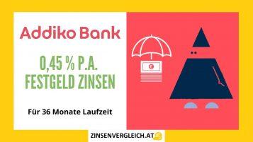 Addiko Bank mit bis zu 0,45 % p.a. Zinsen auf Festgeld für 36 Monate Laufzeit